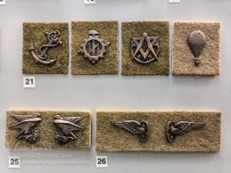 Czechoslovak Armed Forces 1920-29 collar badges. Top row (no.21) left to right, Machine battalion, Bridge battalion, Survey company, Balloon (observation) company. No.25. Infantry and Artillery Mountain Regiments. No.26. Railway Regiment (also worn after 1930).