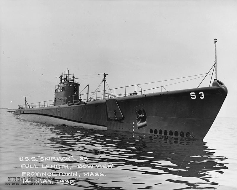USS Skipjack (SS-184) off Provincetown, Massachusetts during sea trials, 14 May 1938. Photograph from the Bureau of Ships Collection in the U.S. National Archives.