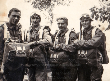 Group photo of WW2 Hungarian paratrooper, Corporal Császár Vilmos (2nd from left) with fellow Hungarian paratroopers. Collection: Julian Tennant
