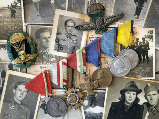 Medals, insignia, photographs and documents belonging to Hungarian paratrooper, Császár Vilmos. Collection: Julian Tennant