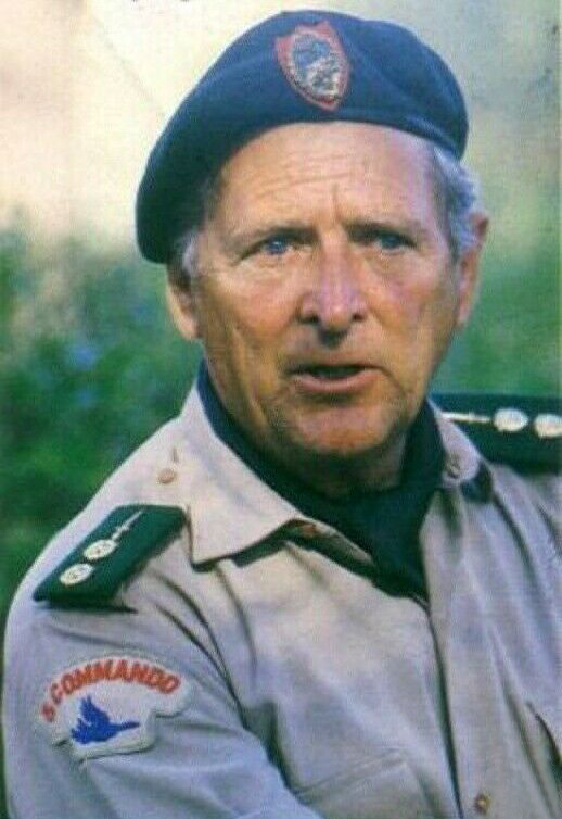 Colonel 'Mad Mike' Hoare wearing the uniform of his 5 Commando Armée Nationale Congolaise (5 Commando ANC) during the filming of the movie, The Wild Geese, for which he was hired as a technical advisor in 1977/78. Photographer unknown.