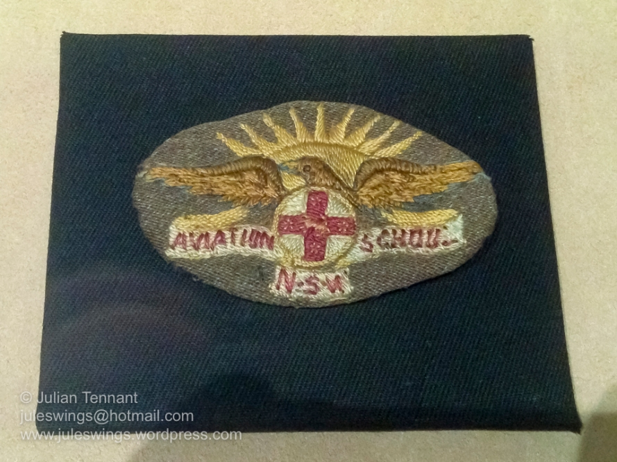 NSW Aviation School Insignia. This badge shows the New South Wales Government aviation school which operated from an airfield at Ham Common, near Windsor, NSW during WW1. In 1925 RAAF Base Richmond was established at the same site and remains operational to the present day. Photo: Julian Tennant