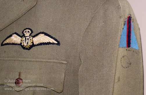 Australian Flying Corps pilots wings and unit colour patch on the tunic of Captain Roby Manuel DFC. Born at Kerang in Victoria in 1895, Roby Manuel enlisted at the age of 20 and served with the 43rd Battalion AIF in 1916 before transferring to the AFC. Manuel flew a SE5a fighter with No 2 Squadron AFC and shot down twelve German aircraft during his service.
