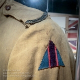 Uniform detail showing the Australian Flying Corps colour patch and 'Australia' title on the uniform of Private Arthur Goodes of No 1 Sqn AFC. Photo: Julian Tennant