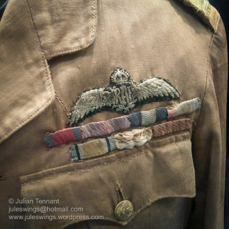 Wing and ribbon detail from the tropical dress tunic worn by Wing Commander Stanley Goble during his round Australia flight in 1924. Note that the uniform still features the Royal Air Force (RAF) wings. Photo: Julian Tennant