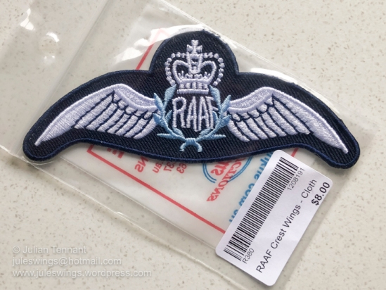 Reproduction/fake RAAF pilot's brevet sold with the souvenirs in the RAAF Museum gift shop. Photo: Julian Tennant