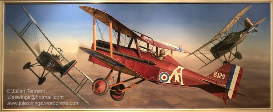 'A Dangerous Life!' Oil painting by Norman Clifford completed in 1969. This painting shows Captain Les Holden, in his red SE5A Fighting Scout, in mock combat with two pupils of No 6 (Training) Squadron, Australian Flying Corps over Minchinhampton, Gloucester, England in 1918. For Holden and other 'fighting instructors' life was hardly less dangerous than a combat pilot since they had to contend with pupils enthusiastic but unpredictable and inexperienced manoeuvres. Photo: Julian Tennant