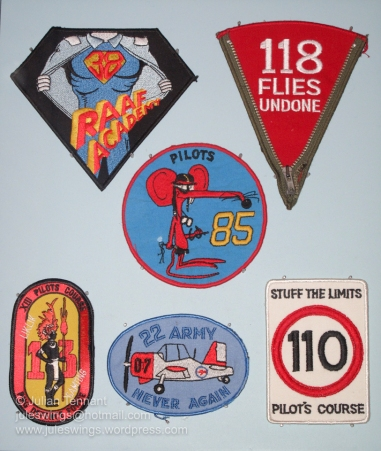 Patches made as souvenirs for different RAAF pilot graduation classes. Photo: Julian Tennant