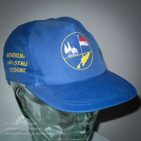 Militia Cap: East Timor. This cap belonged to one of the organised local groups opposed to East Timorese independence. These militias conducted a campaign of violent resistance before and after the ballot on August 30, 1999. Photo: Julian Tennant