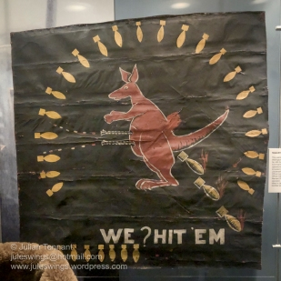 Nose-Art panel from Wellington bomber 'Y Yorker' which flew at least 53 operations over Europe as part of No 466 Squadron (Bomber Command) during WW2. Photo: Julian Tennant