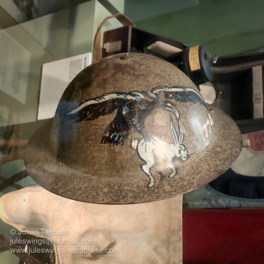 Painted steel helmet belonging to Jack Toliday who served in Northern Australia and the South West Pacific area of operations between July 1941 and June 1946. Photo: Julian Tennant