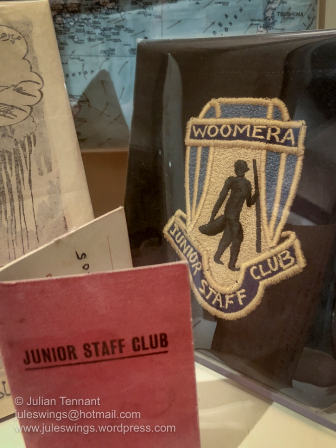 Membership card and patch for Junior Staff Club of the Long Range Weapons Project based at Woomera, South Australia. Photo: Julian Tennant