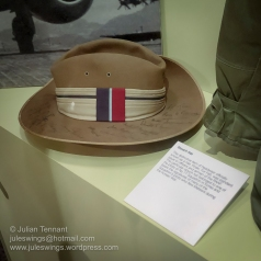 Distinctive Slouch Hat worn by a RAAF Meteor pilot of No. 77 Squadron in Korea. The hat bears the signatures of many of the squadron's pilots. Photo: Julian Tennant