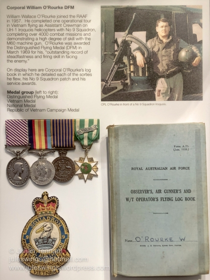 Medals, log book and No 9 Sqn patch belonging to Corporal William O'Rourke who completed over 4000 combat missions as an assistant crewman and demonstrated a high degree of skill with the M60 machine gun, for which he was awarded the Distinguished Flying Medal (DFM) in March 1969. Photo: Julian Tennant