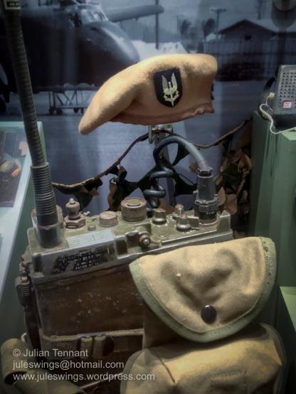 Vietnam period Australian Special Air Service Regiment beret, featuring the distinctive beige headband of that period, and AN/PRC-9 FM backpack radio set. Photo: Julian Tennant