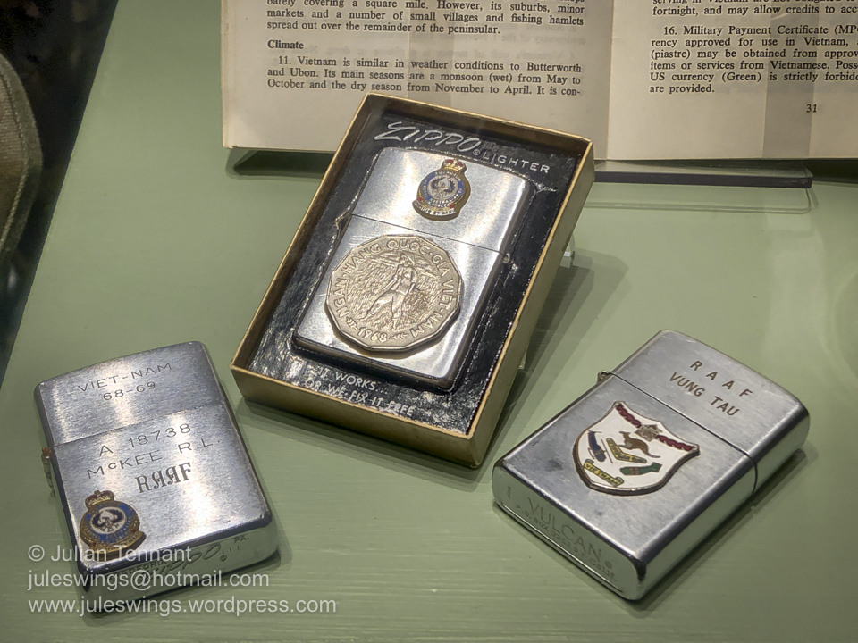 Vietnam War souvenir RAAF Zippo and Vulcan lighters. Photo: Julian Tennant