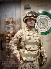 RAAF ground crewman wearing the distinctive Australian Desert Pattern Disruptive Uniform (DPDU) in the Afghanistan, Iraq and the Middle East Area of Operations display. Photo: Julian Tennant