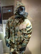 RAAF ground crew wearing Disruptive Pattern Camouflage Uniform (DPCU) NBC protective clothing and S-10 respirator. Photo: Julian Tennant