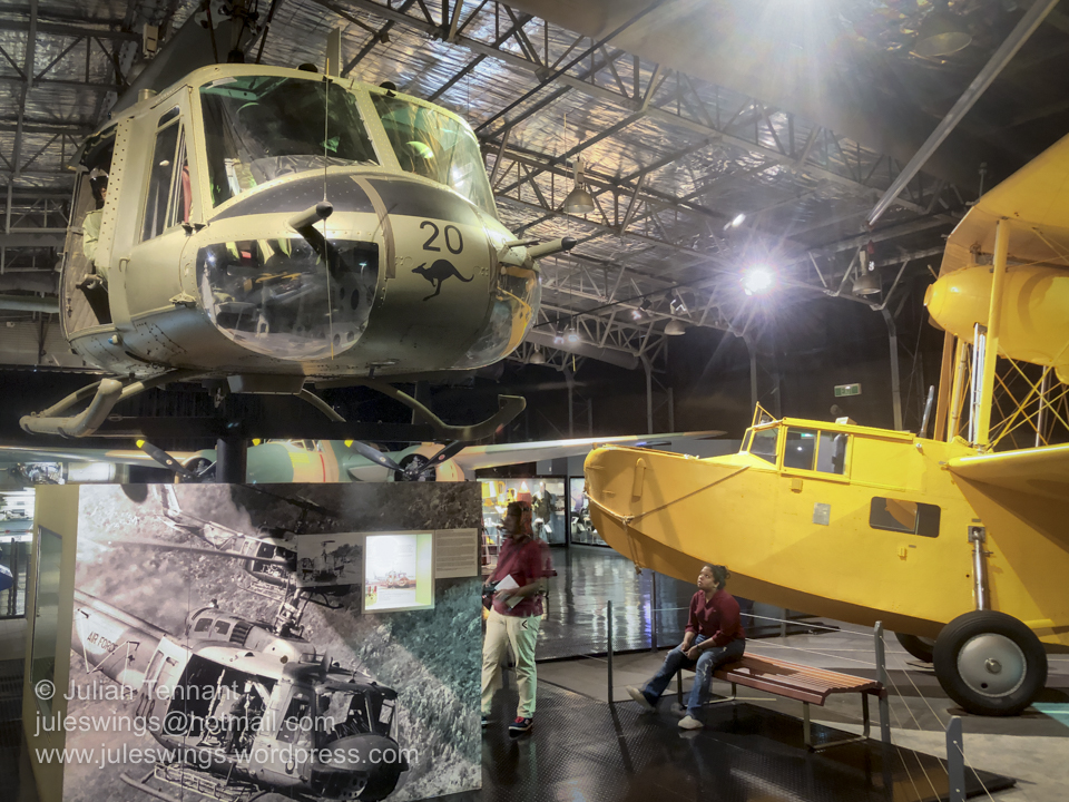 Bell UH-1B helicopter (A2-1020) and Supermarine Seagull V 'Walrus' (HD-874) on display in the Technology Hangar. Photo: Julian Tennant