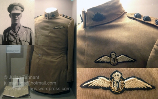 Maternity jacket of Captain Douglas Wallace Rutherford, 1 Squadron Australian Flying Corps. Note the use of the RFC pilot's brevet. Photo: Julian Tennant