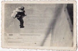One of Hungarian paratrooper Császár Vilmos' photos showing a para exiting the aircraft. Collection: Julian Tennant