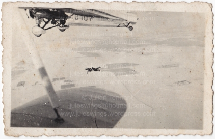 One of Hungarian paratrooper Császár Vilmos' photos showing a para exiting a Caproni ca.101 aircraft. Collection: Julian Tennant