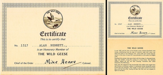 "Alan Bennett's personalised ""Honorary Member of The Wild Geese"" certificate that accompanied the patches sold in Soldier of Fortune magazine circa 1982. Pictures courtesy of the Alan Bennett collection."