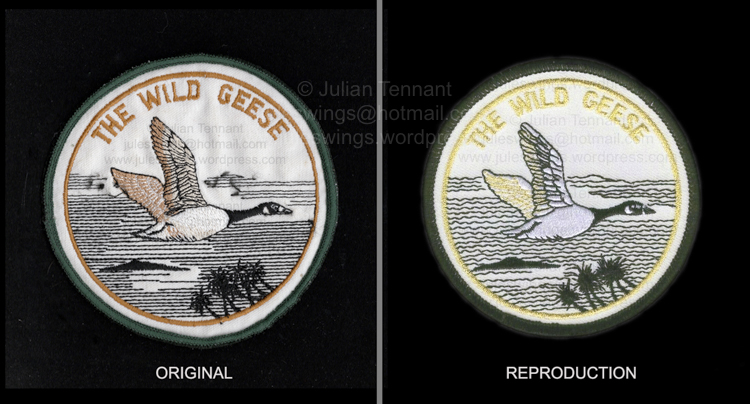 "Right: The original ""Wild Geese"" patch sold by Mike and Phyllis Hoare via an advertisement in Soldier of Fortune magazine in 1982. These patches were sold to raise money for his legal bills and are NOT a veterans or mercenary unit patch as is often described. Left: One of the contemporary copies that are being sold to collectors, often with all sorts of outrageous identification descriptions. When compared the differences in detail is obvious. Collection: Julian Tennant."