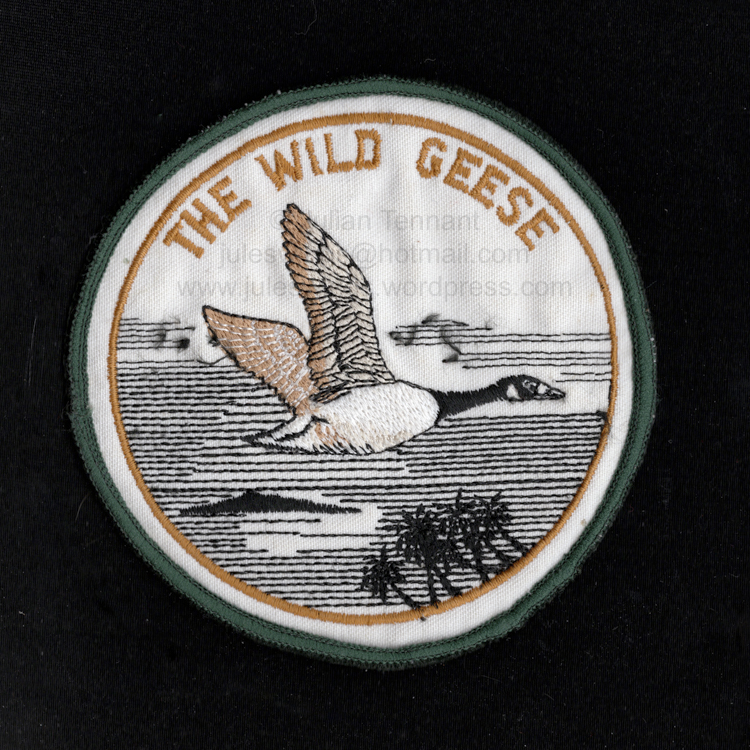 Original Wild Geese patch sold by the Hoare family via an advertisement in Soldier of Fortune magazine circa 1982. Collection: Julian Tennant