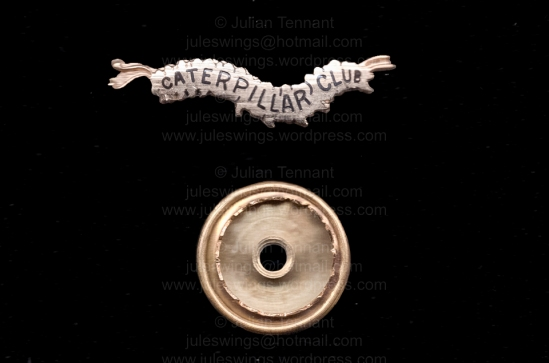 Switlik Caterpillar Club pin awarded in 1991 to a Soviet bomber pilot named AЕВИНСОН who was shot down by the Germans in June 1941. Collection: Julian Tennant