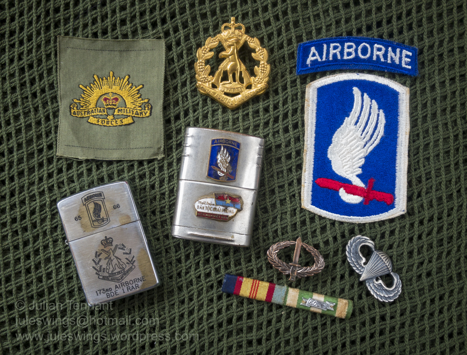 A selection of items related to the initial deployment of 1RAR to South Vietnam from May 1965 until April 1966 when they were attached to the US 173rd Airborne Brigade (Separate). The WW2 era Australian Military Forces lighter which has been modified with the addition of the enameled 173 Abn and Viet Cong badges was issued to Corporal Lex McAulay, who was with 1RAR during this time. Collection: Julian Tennant