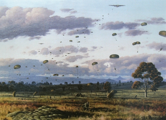 6RAR Para Coy Gp. Exercise Distant Bridge - Painting by K. Wenzel, commissioned by Lt Col. A.L. Mattay and presented to the Battalion.