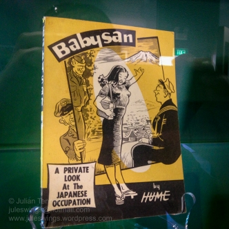 """Babysan was a comic created by American artist Bill Hume while he was stationed in Japan in the 1950s. The comic depicts American sailors interacting with a pin-up style Japanese woman named Babysan. The title comes from the word """"baby"""" an affectionate term Americans use and """"san"""" which is an honorary term used by the Japanese. It translates literally to Miss Baby. The comic became incredibly popular with United States service members in Japan by mixing good humor with culture, language, and sex. Photo: Julian Tennant"""