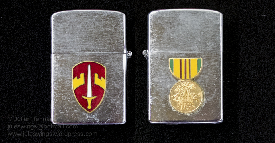 Korean 'My-Lite' copy of the Zippo lighter which Lex McAulay bought in Saigon during one of his later deployments to Vietnam. Collection: Julian Tennant