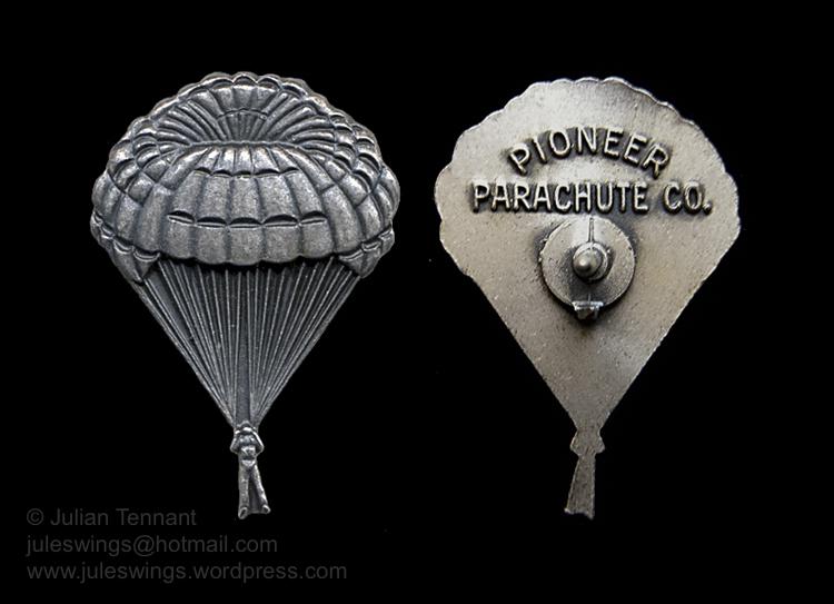 The Pioneer Parachute Co. pin. Not aCaterpillar!