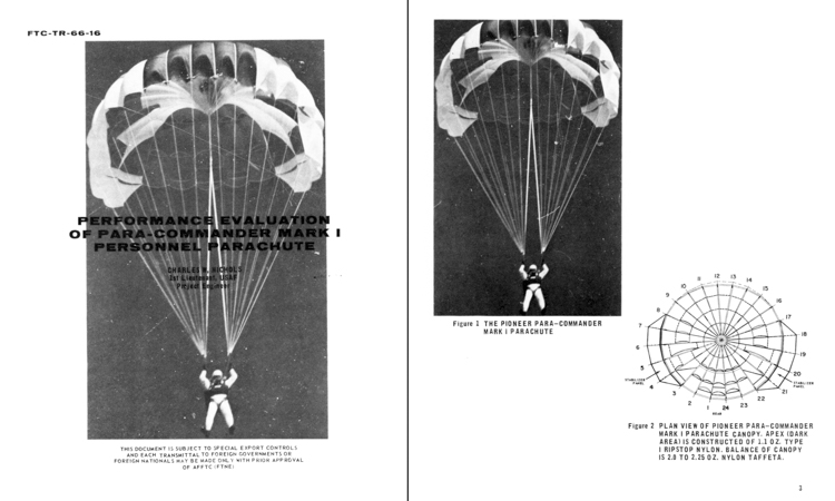 """Page details from the June 1966 USAF """"Performance Evaluation of Para-Commander Mark I Personal Parachute"""" report of 1st Lieutenant Charles W. Nichols of the Air Force Test Center at Edwards Air Force Base in California."""