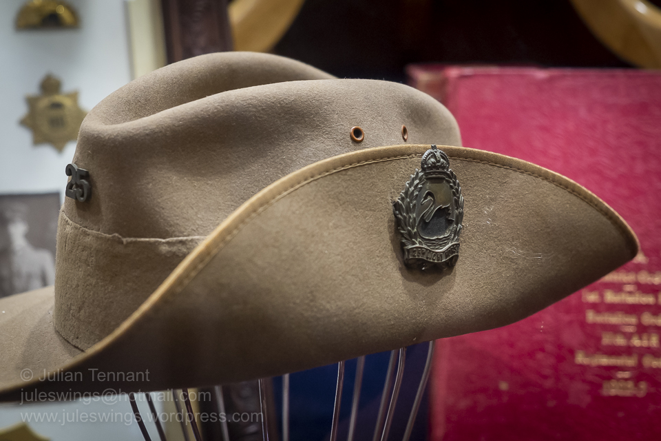 Slouch hat dated 1915 for the 25th Australian Light Horse Regiment (Militia) worn by John Campbell Dale Warren who was killed in France whilst serving with the 16th Battalion, AIF. Photo: Julian Tennant