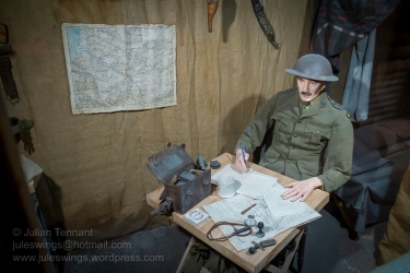 Officer in the Trench dug out display at the Army Museum of Western Australia. Photo: Julian Tennant