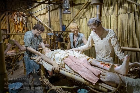 Medical staff in an improvised operating theatre in a POW camp along the Thai-Burma Railway display. Prisoner Of War Gallery at the Army Museum of Western Australia. Photo: Julian Tennant