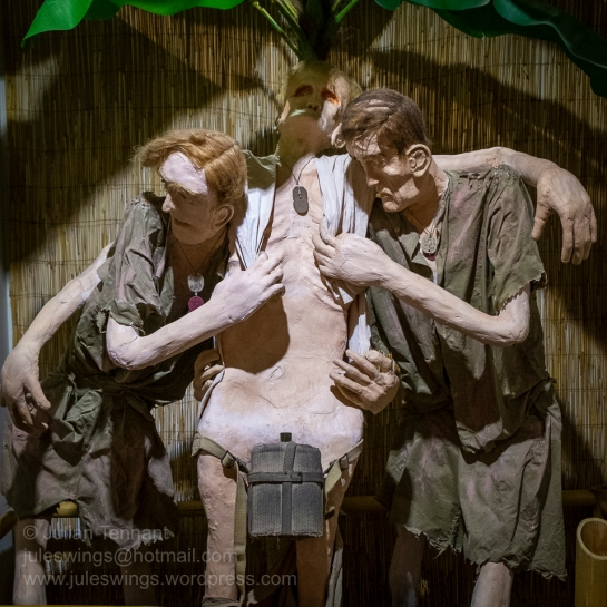 """Mateship"" A lifesize diorama depicting emaciated Australian POWs supporting a mate in the Thai-Burma Railway display of the Prisoner Of War Gallery at the Army Museum of Western Australia. Photo: Julian Tennant"