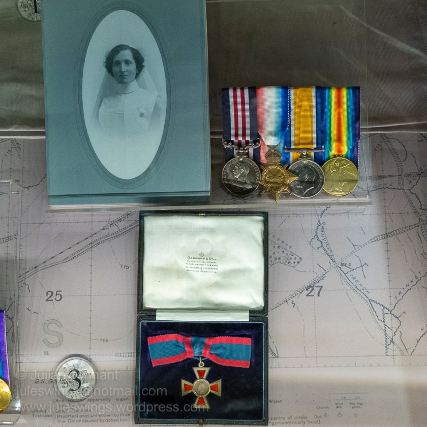 Medal group to Sister Alicia Mary Kelly MM, AARC. Sister Kelly's Military Medal (MM) was one of only seven awarded to Australian nurses for bravery under fire in WW1. Photo: Julian Tennant