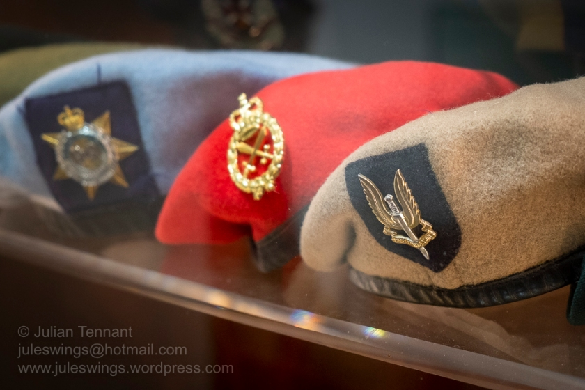 Special Air Service Regiment, Military Police and Royal Australian Corps of Transport attached to Australian Army Aviation Corps berets in the Traditions Gallery of the Army Museum of Western Australia. Photo: Julian Tennant