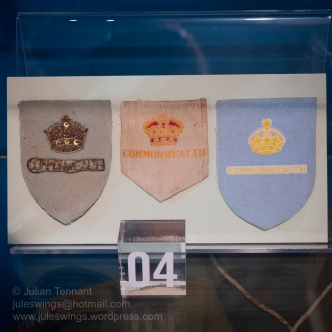 British Commonwealth Occupation Force shoulder patches worn by Australian troops during the occupation of Japan. Photo: Julian Tennant