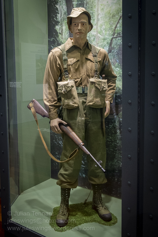 Malayan Emergency c1955. Australian soldier wearing British issue uniform and equipment, armed with a .303 inch Mk1 Number 5 Jungle Carbine. Photo: Julian Tennant