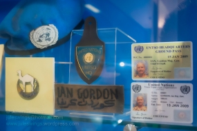 Items belonging to Major General Ian Gordon whilst commanding the United Nations Truce Supervision Organisation (UNSTO) in 2009. Also included is the beret and badge worn whilst he was a Lieutenant Colonel in Commando of UN Operation CEDILLA 1991 in the Western Sahara (MINURSO). Photo: Julian Tennant