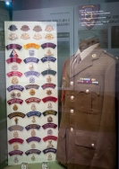 Cabinet display featuring the Officer's Service Dress Winter tunic worn by Major Doug French of the Royal Australian Regiment, 5th Military District presentation plaque and Australian Army insignia. Photo: Julian Tennant