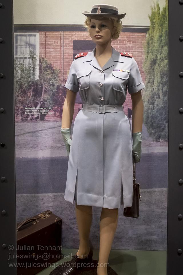 Lieutenant wearing the Summer uniform of the Royal Australian Nursing Corps, Vietnam era c1969. Photo: Julian Tennant
