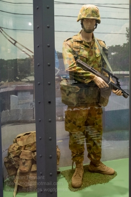 Australian 'digger' wearing the uniform and equipment of the INTERFET deployment to East-Timor, 1999. Photo: Julian Tennant