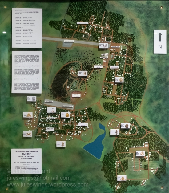 Terrain map model showing the unit locations within the 1st Australian Task Force Base at Nui Dat in Phouc Tuy province, South Vietnam in 1971. Photo: Julian Tennant