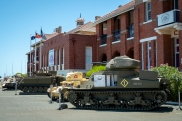 Tanks and AFV's at the front of the main building of the Army Museum of Western Australia. Photo: Julian Tennant